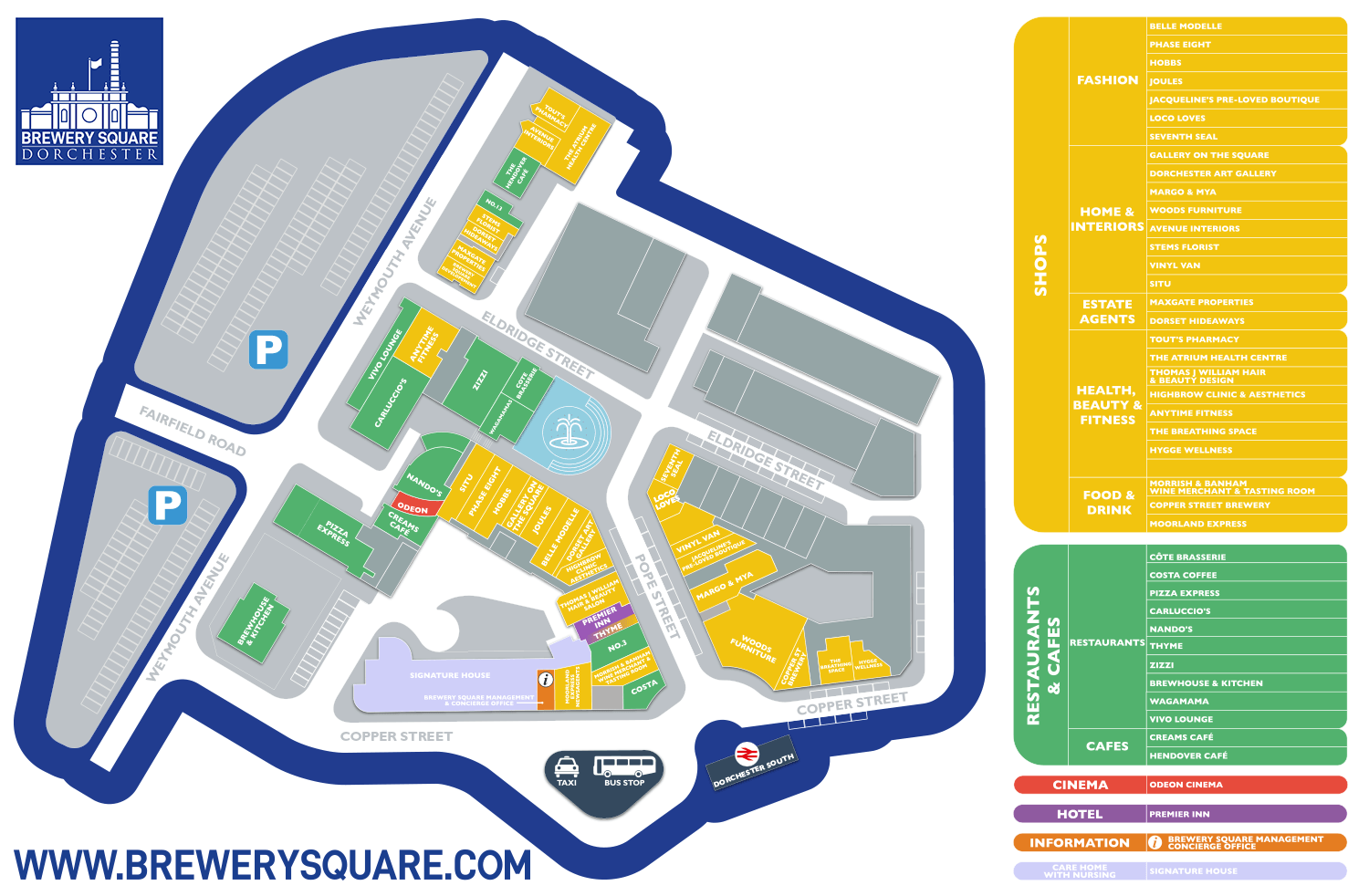 Brewery Square Retail Map June 2020